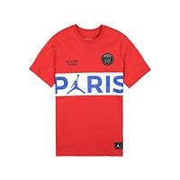 Air Jordan Men's PSG Paris Saint-Germain Tee Red Blue T-Shirt