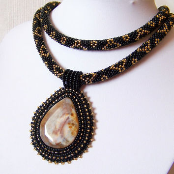 Statement Beadwork Bead Embroidery Pendant Necklace with Agate - Queen Of The Night - black - gold