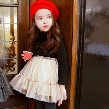 Ophelia Fleece Lined Metallic Tutu Dress - Black & Cream