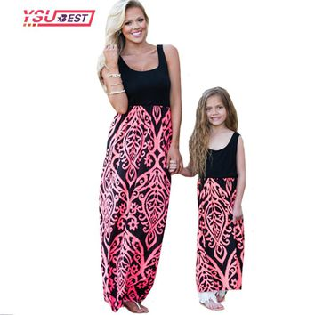 family look Mommy Neon Coral Black Damask Maxi Dress Mother daughter dresses mother & kids family matching outfits 2017 Fashion