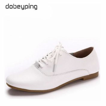 New Genuine Leather Women's Oxfords Shoes Women's Casual Shoe Lace-Up Female Flats Loafers Pointed Toe Soft Female Driving Shoes