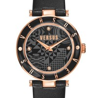 Women's VERSUS by Versace 'Logo' Leather Strap Watch, 34mm - Black/ Rose Gold