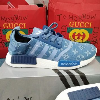 Adidas x Gucci x Louis Vuitton x Supreme NMD Women Men Fashion Casual  Running Sports Shoes Sneakers blue G