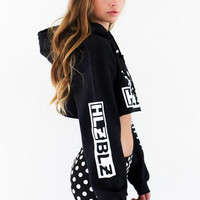Hellz Bellz x Hello Kitty Iconz Kitty Black Crop Hoodie
