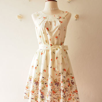 Tea Party - Off White Cream Floral Sundress Butterfly Vintage Summer Dress Audrey Hepburn Inspired Bridesmaid Dress Vintage Modern, Custom