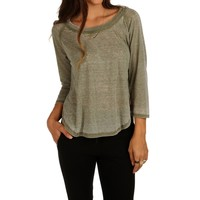 Sale-olive Side Slit Not So Casual Top