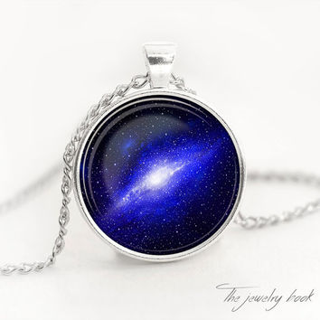 Nebula pendant Galaxy Necklace Blue nebula Space Jewelry Necklace for her Gift for her Necklace for him