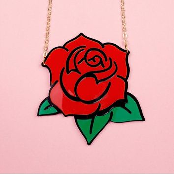 Exaggerate Big punk fashion rose flower pendant necklace chain acrylic beautiful flower necklace collar Collier party jewelry