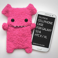 Fluffy Cellphone Case for Samsung Galaxy S3 - Pink with Teeth