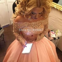 Pink Ball Gown Prom Dresses 2017 Boat Neck Long Sleeves Sparking Lace Appliques Bow Imported Party Dress Prom Gowns vestidos