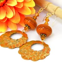 Orange Earrings Lampwork Glass Bead Gold Short Dangle Handmade