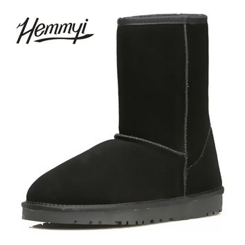 Hemmyi 2017 Mid-calf boots Women Snow Boots Fashion High Quality Genuine Suede Leather Australia Classic Warm Winter Shoes Woman
