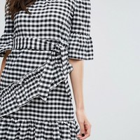 PrettyLittleThing Gingham Frill Bardot Dress at asos.com