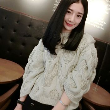 Women Sweater Spandex New Arrival Limited Pull Poncho 2016 Winter Haute Couture Hand Crochet Knitting Sets Loose Round Collar