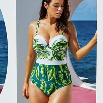 Leaf Print Plus Size One Piece Monokini Underwire Swimsuits FREE shipping