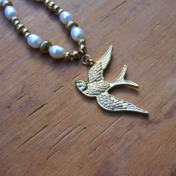 Gold Dove and Pearl Beadwork Necklace