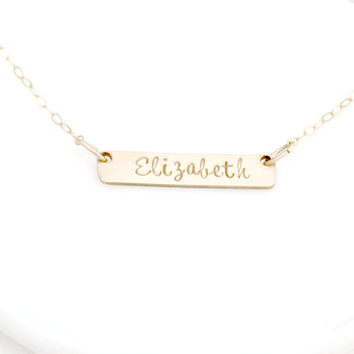 Gold Name Necklace - Gold Bar Necklace - Horizontal Gold Bar Necklace -  Personalized Name Bar Necklace - Simple Jewelry