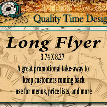 Custom Long Flyer Personalize with your logo, text, and photos, Full Color one side Events Big Sales  Handouts