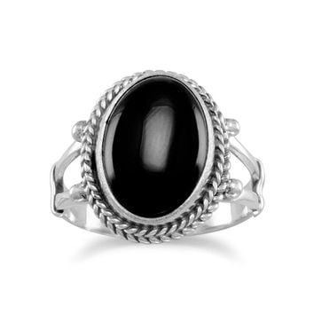 Oval Black Onyx Rope Edge Ring