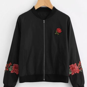 Black Rose Patch Zippered Jacket