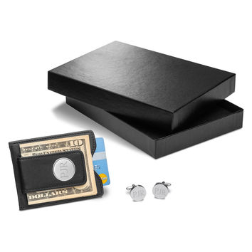 Personalized Black Leather Wallet & Pin Stripe Cufflinks Gift Set