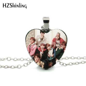 2017 New Trendy BTS Wings Teaser Heart Necklace Bangtan Boys Band Jewelry Glass Dome Pop singer Heart Necklace for fans HZ3