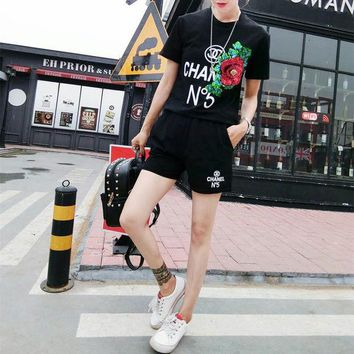 DCCK6HW CHANEL' Women Fashion Casual Letter Print Sequin Embroidery Flower Short Sleeve Shorts Set Two-Piece Sportswear