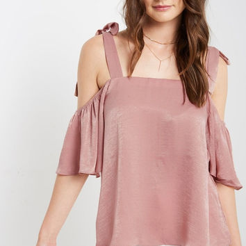 Salmon Amore Satin Cold Shoulder Top