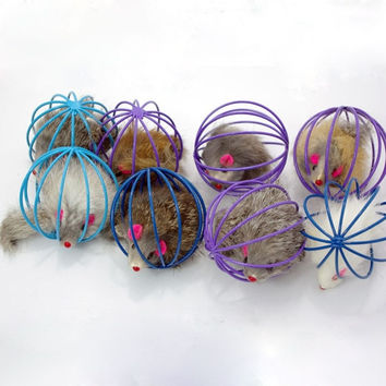 Fun Gift Playing Toys False Mouse in Rat Cage Ball For Pet Cat Kitten = 1929985540