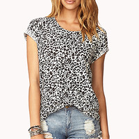 Linen-Blend Animal Print Top