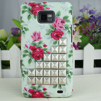 Rose  Hard Case Cover With Silver Stud For Samsung Galaxy S2 i9100,Samsung Galaxy S 2 II i9100