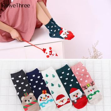 New women autumn winter warmth cartoon tube socks Japanese lovely Santa Claus Christmas tree Snowman Elk Bear sokken Xmas gift