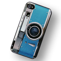 iPhone Case Retro Teal Blue Camera Hard Phone by TheCuriousCaseLLC