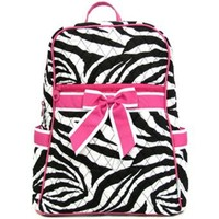 Small Quilted Zebra Print Backpack Purse (Pink)