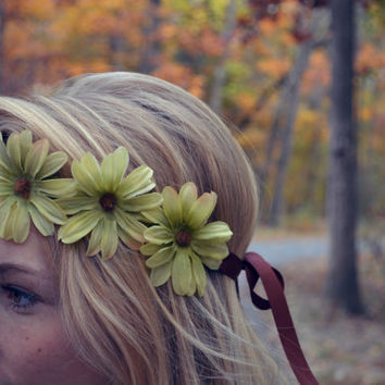 Green Flower Crown Floral Halo Flower Headband Bohemian Christmas Green Headpiece Fall Flower Crown