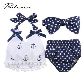 New 2017 Baby Boy Girl Clothing Set Sleeveless Anchors Printing Bow Top +Polka Dot Briefs+Head band 3pcs Baby Girls Clothes