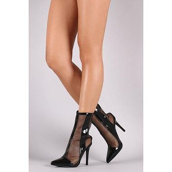 Transparent Mesh Patchwork Pointed Toe Stiletto High Heels Short Boot Sandals