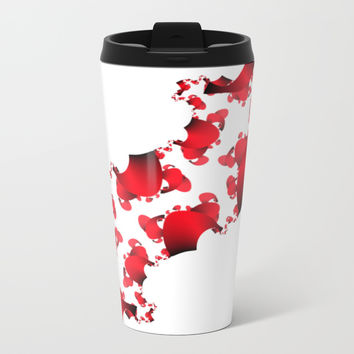 Red and Black Gradient Confetti Metal Travel Mug by 11penguingirl