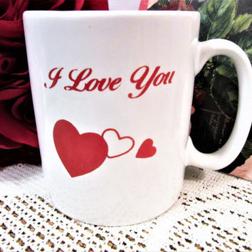 Valentine Mugs Hearts Red Porcelain Ceramic Gift Ideas Love Handcrafted blm