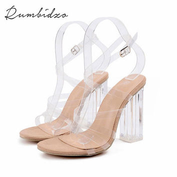 Rumbidzo  Ankle Strap Perspex High Heels PVC Clear Crystal Concise Classic Buckle Strap Women Roman Pumps Jelly Shoes 193-6#