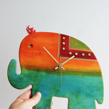 Elephant wall clock, ceramic wall clock of turquoise blue, green and orange elephant, hand painted, elephant clock, nursery clock