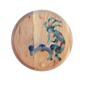 Cherry Wood Guitar Hanger Wall Mount with Dancing Steel Kokopelli
