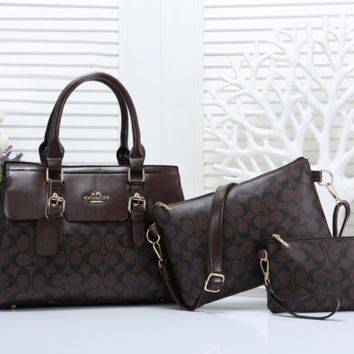 COACH Women Leather Tote Satchel Crossbody Handbag Three Piece Suit
