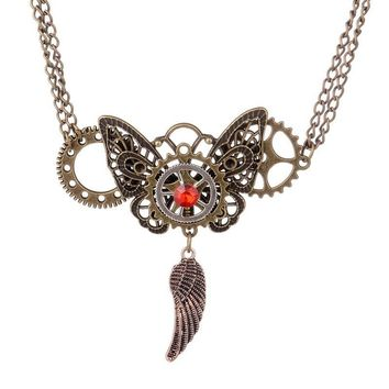 2016 Latest Design Gears And Butterfly Wing Charms Vintage Steampunk Pendant Necklace Bronze Ox Plated
