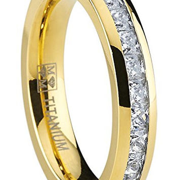 4MM Goldtone Plated Princess Cut women's Eternity Titanium Ring Wedding Band with Cubic Zirconia CZ | FREE ENGRAVING
