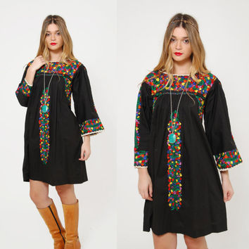 Vintage MEXICAN Dress Black Hand EMBROIDERED Dress Ethnic Hippie Dress Boho Festival Tent Dress Cotton Dress OAXACAN Dress