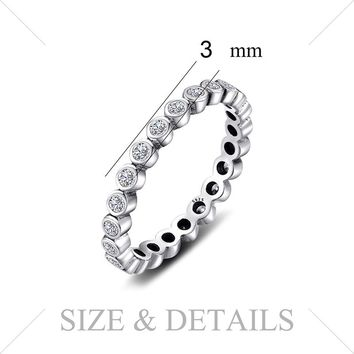 100% Solid 925 Sterling Silver Rings Cubic Zirconia Jewelry CZ Stackable Eternity Ring Sets Fashion Women Gifts