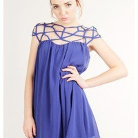 BLUE AMAZING CHIFFON TRENDY CAGE DRESS @ KiwiLook fashion
