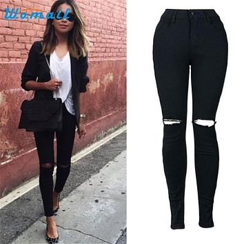 Womail The most Women Slim Pencil Trousers Cool Ripped Knee Cut Skinny Long Jeans Pants