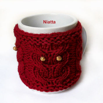 Owls Beaded Coffee Mug Cozy Cup Sleeve Hug Knitted Niatta